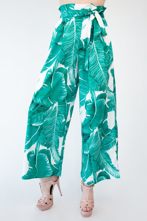 Banana Leaf Print Paper Bag Pants