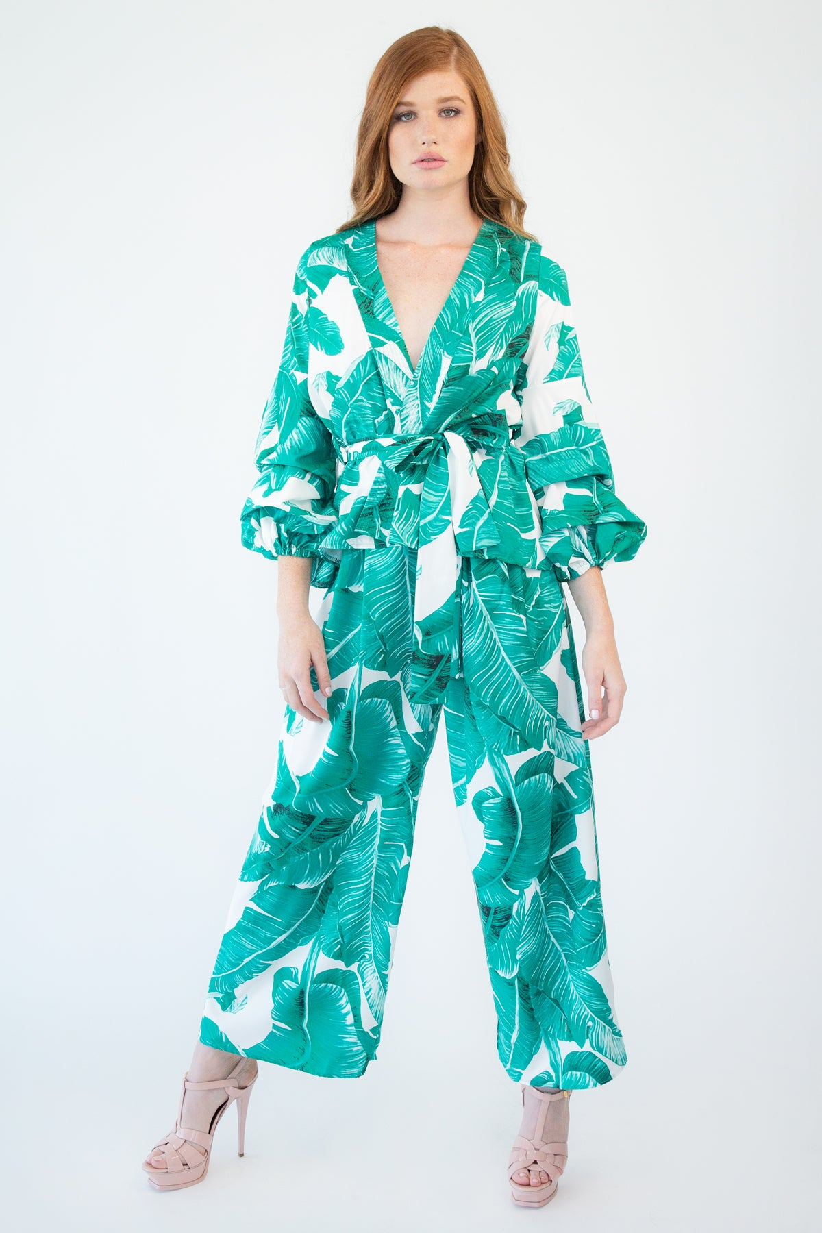 Banana Leaf Print Wrap Top