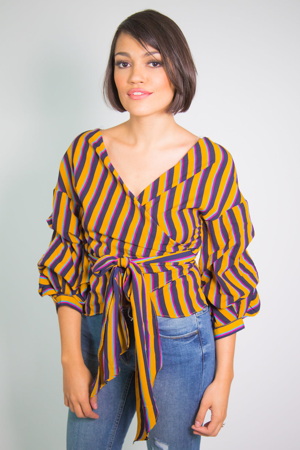 Striped Wrap Around Top