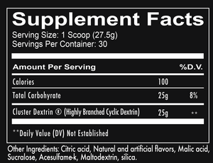 Cluster Bomb supplement facts - Intra/post carb powder