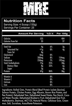 Meal Ready to Eat MRE Nutritional Information