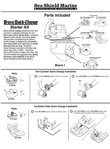 Stern/Out-Drive Anodes MerCruiser Bravo 1 Quick-Change Complete Kit Zinc