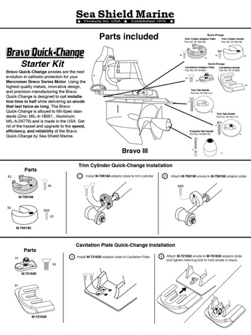 Stern/Out-Drive Anodes MerCruiser Bravo 3 Quick-Change Complete Kit Zinc