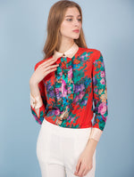 Designed 100% Real Silk Red Floral Shirts - zaladys