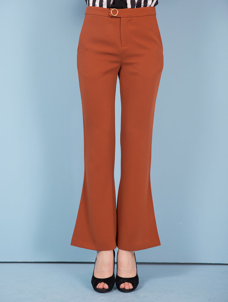 Designed Black&Brown Flared Pants