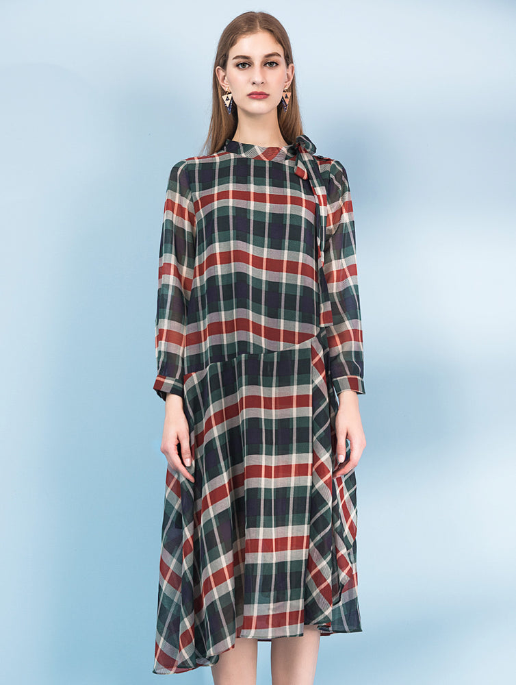 Designed Checked&plaid long sleeve dress