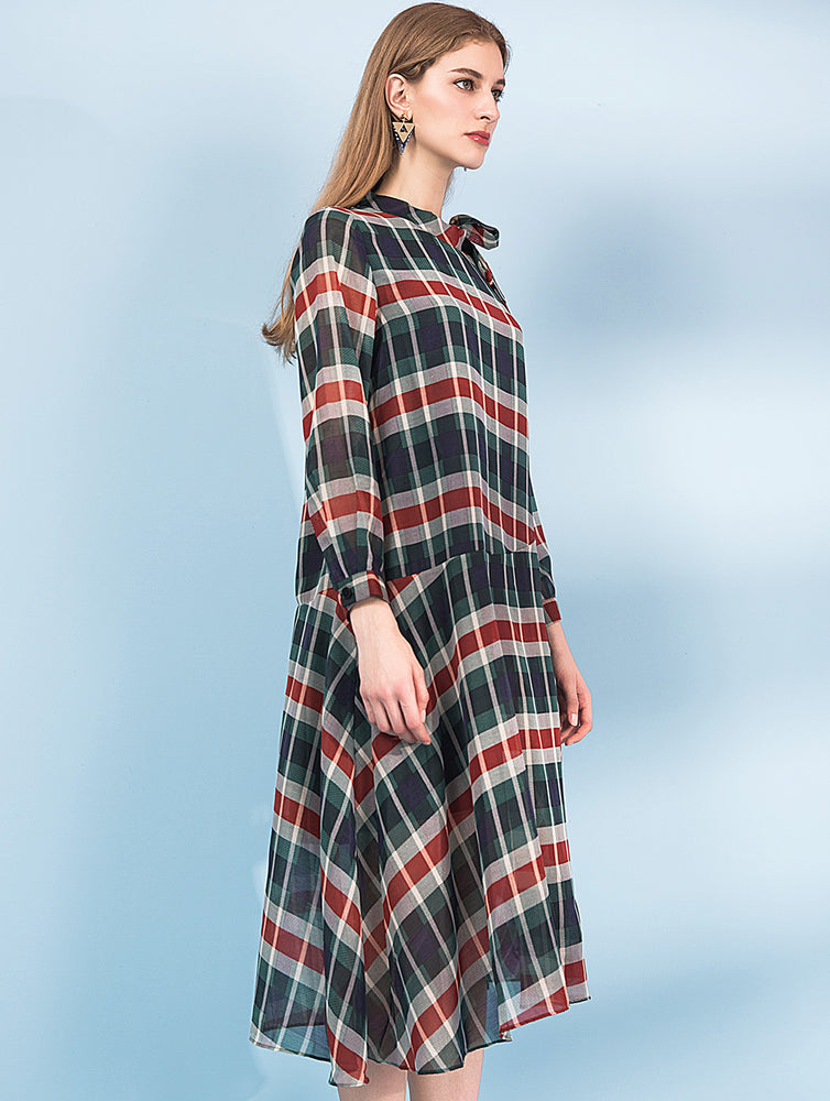 Designed Checked&plaid long sleeve dress - zaladys