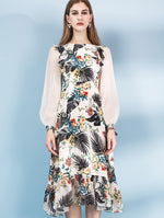 Designed 100% Silk Floral Long Sleeve Dress