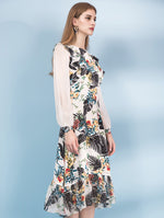 Designed 100% Silk Floral Long Sleeve Dress - zaladys