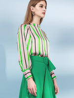 Designed 100% Silk Long Sleeve Striped Shirts - zaladys