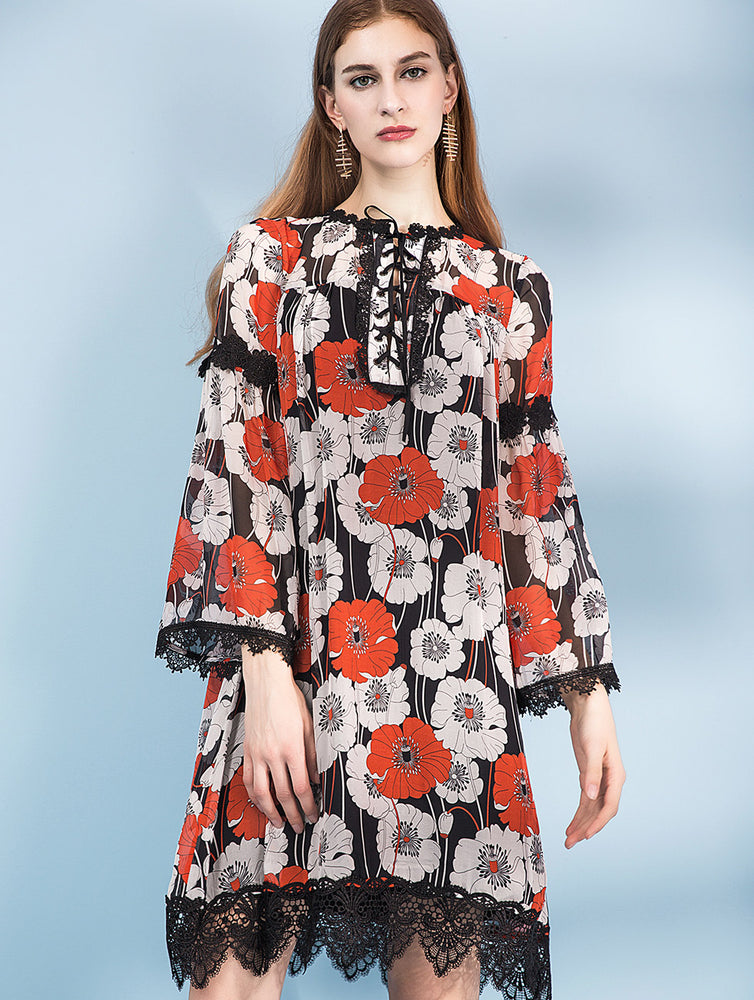 Designed 100% Silk Red Floral Long Dress