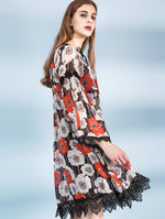 Designed 100% Silk Red Floral Long Dress - zaladys