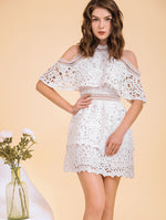 Designed Cold Shoulder White Dress