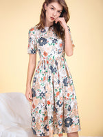 Designed 100% Real Silk Floral Dress