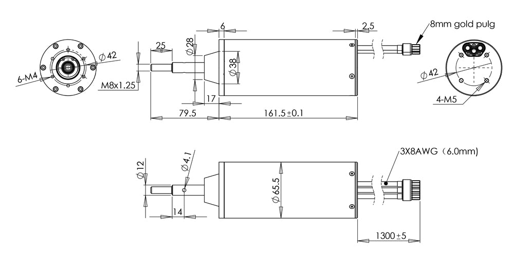 the size of waterproof dc motor shaft