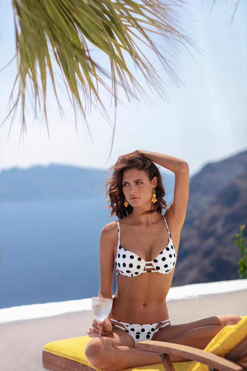 Sicily Bikini in black Polka dot bottom