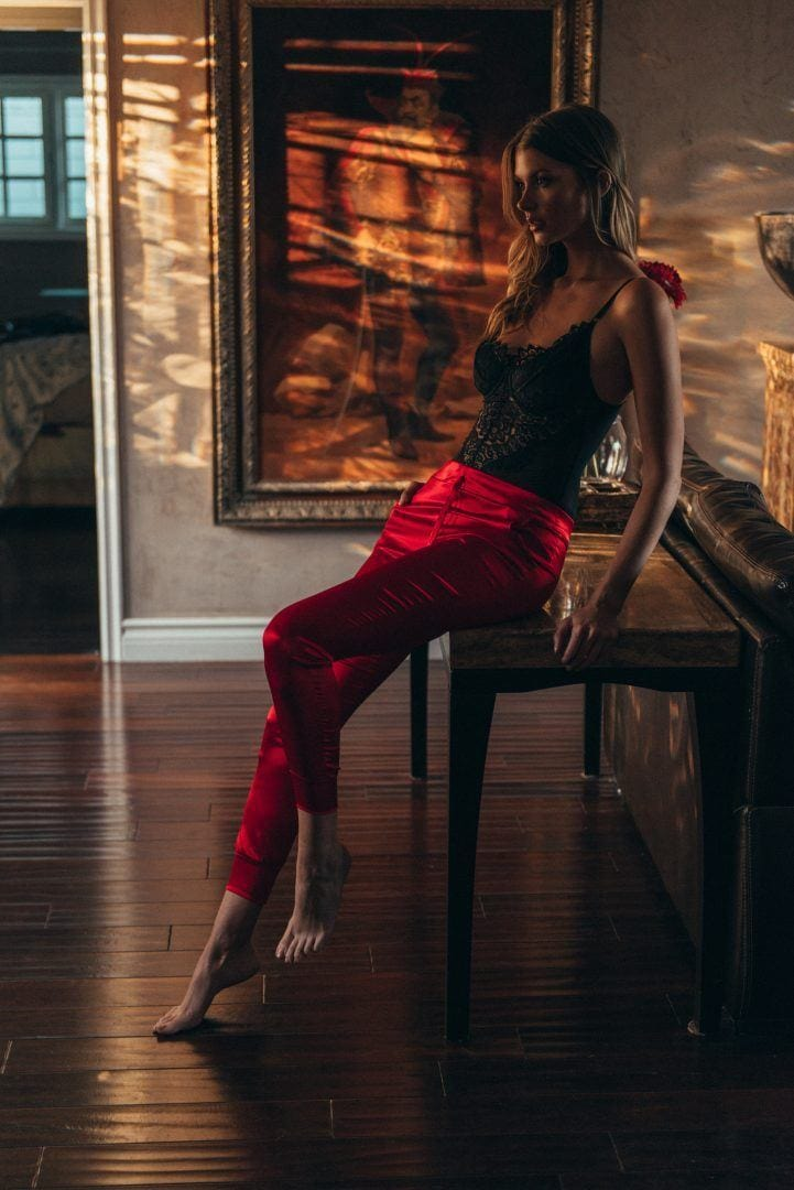 Lina Red 100% silk Charmeuse pants