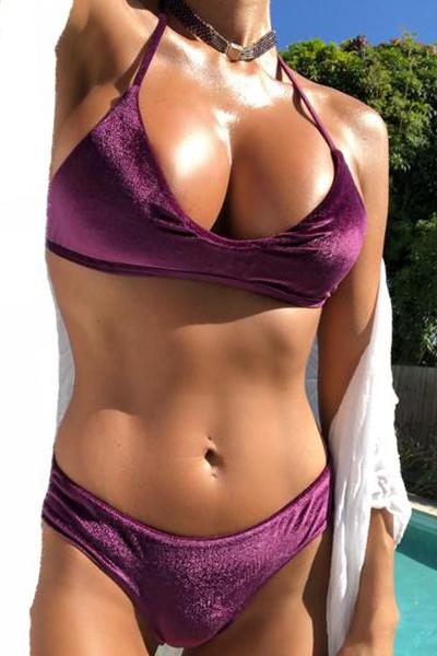 A new Color ! Trouble in Paradise VELVET Burgundy - Plumeria Swimwear