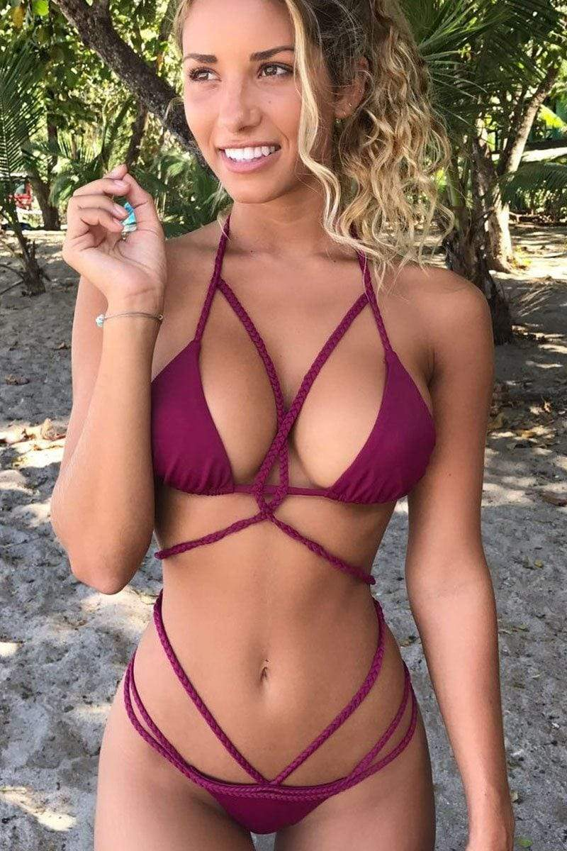 Ava Bikini Burgundy 32-34DD available - Plumeria Swimwear