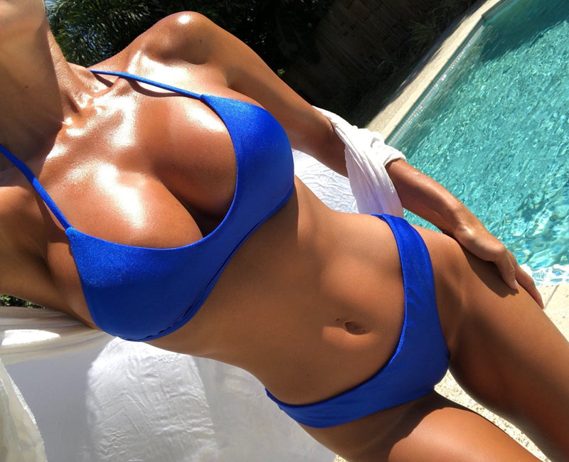 A New Color ! - TROUBLE IN PARADISE Cobalt Blue - Plumeria Swimwear