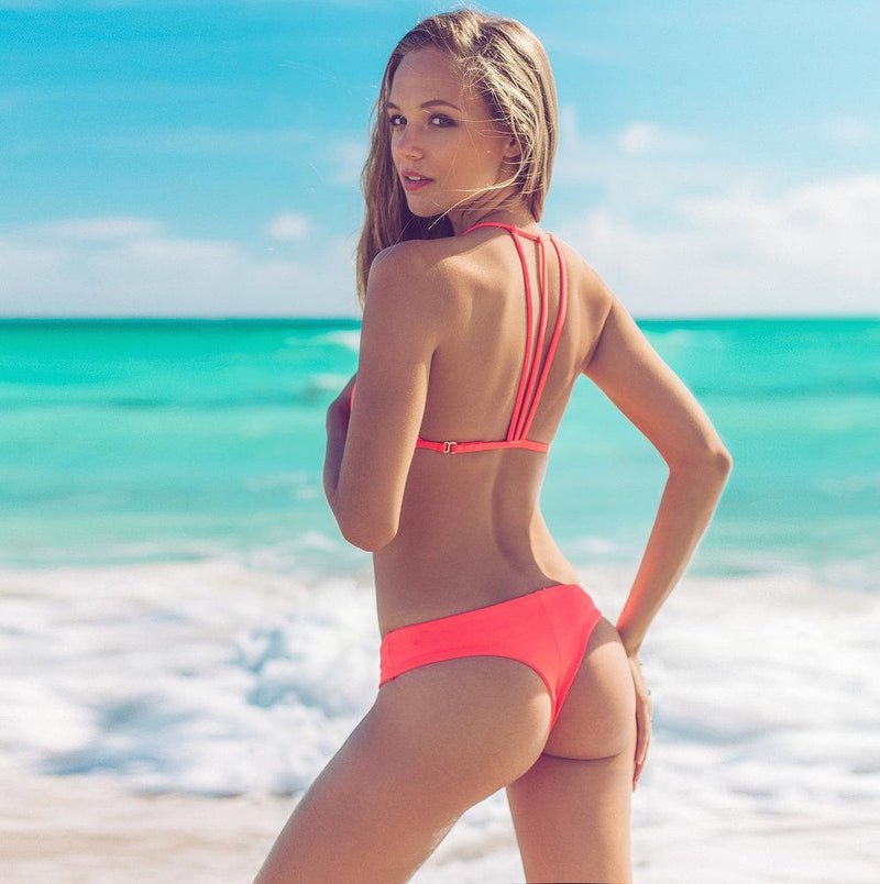 TROUBLE IN PARADISE IN BRIGHT CORAL BOTTOM