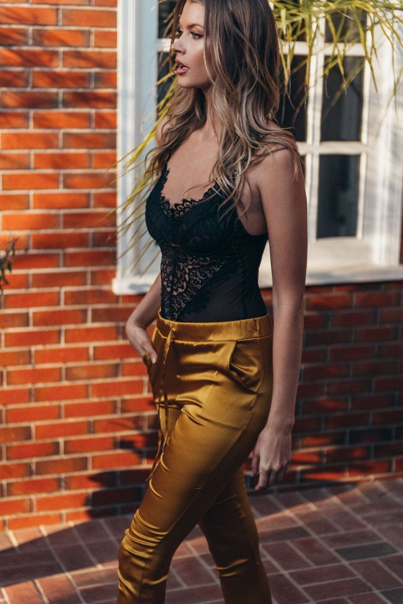 Lina Gold Honey 100% silk  Charmeuse Pants