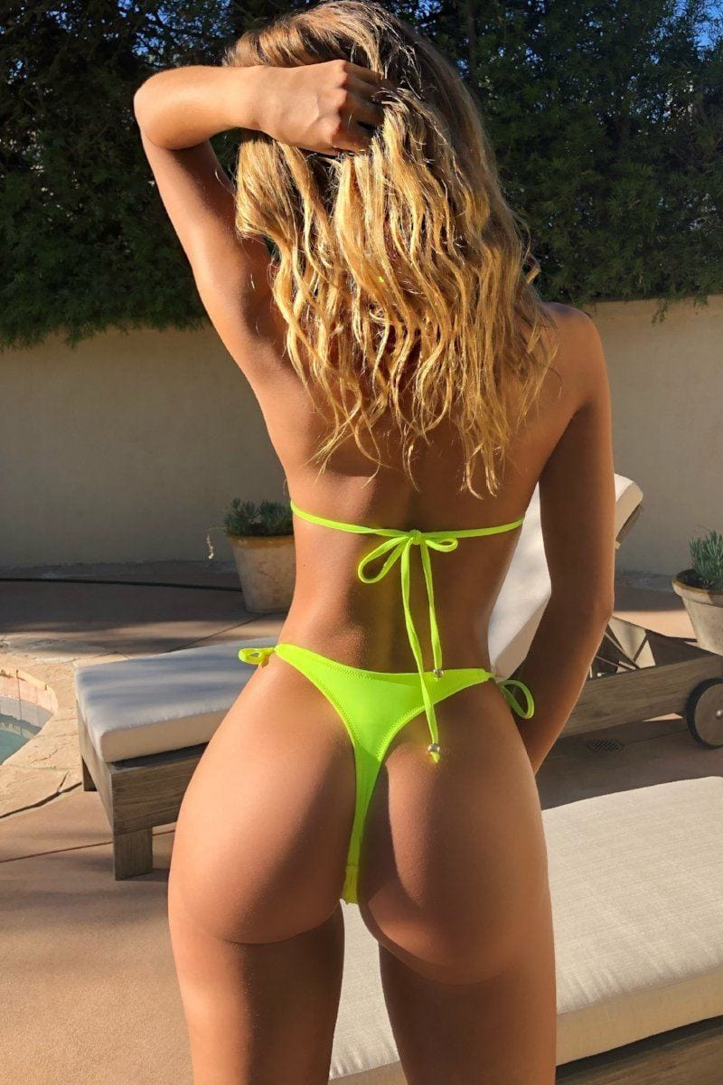 Let's get tan! Thong set Neon Yellow