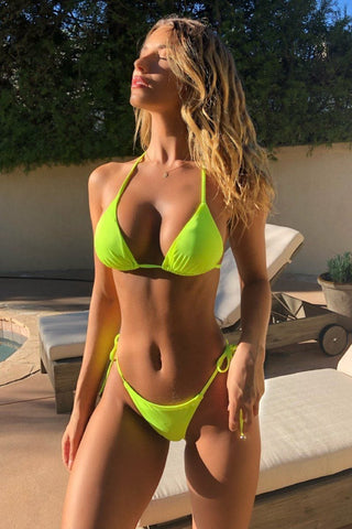 Let's get tan!  Neon Green Thong