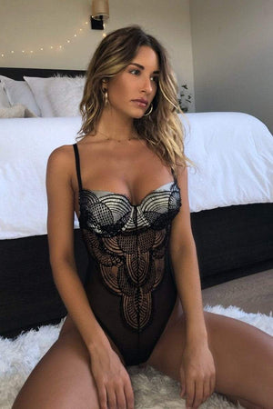 Antoinette Bodysuit French lace and Silk Bodysuit Lingerie *34DD available*