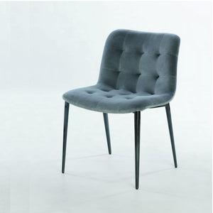 HARBOR CHAIR - LIGHT GREY VELVET AND NATURAL SILVER METAL LEGS
