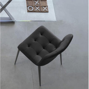 HARBOR CHAIR - BLACK ECOLEATHER AND NATURAL SILVER METAL LEGS