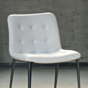 HARBOR CHAIR - WHITE ECOLEATHER AND NATURAL SILVER METAL LEGS