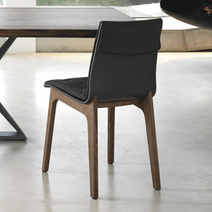 ALMORA CHAIR - ANTHRACITE ECOLEATHER AND WALNUT LEGS