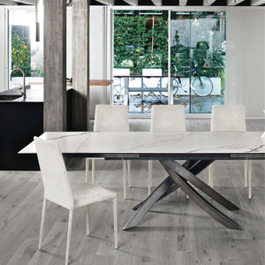 ANTARES EXTENDABLE TABLES - WHITE MATTE SUPERMARBLE