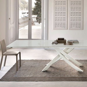 ANTARES EXTENDABLE TABLE - WHITE VELVET MATTE LACQUERED GLASS