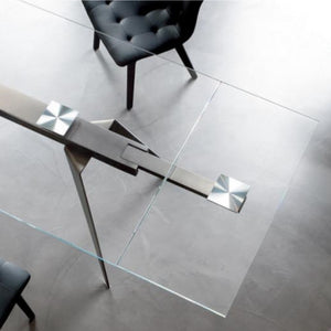 EVANS EXTENDABLE TABLE - TRANSPARENT EXTRA CLEAR GLASS