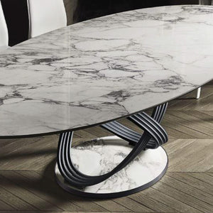 FLUTE OVAL TABLE - GLOSSY ARABESCATO SUPERMARBLE