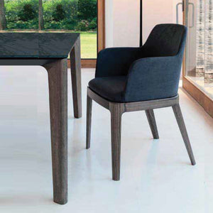 GRACE ARMCHAIR - ANTHRACITE ECOLEATHER AND WALNUT LEGS
