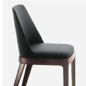GRACE CHAIR - ANTHRACITE ECOLEATHER AND WALNUT LEGS
