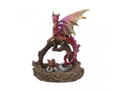 Mother's Nest Dragon Protector Statue Metallic Ruby Red