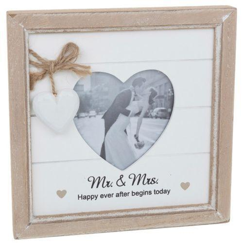 Provence Message Heart Photo Frame - Mr & Mrs | Free UK Delivery