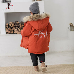 Warm Long Section Hooded Thick Jacket Elastic Cuffs Cotton children's Coats for Boys. - nativware.com