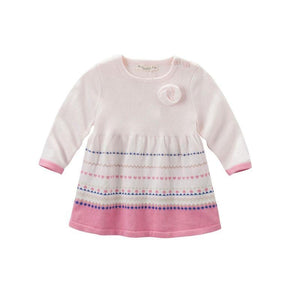 Gorgeous girls knitted striped pink fancy baby girls boutique dress - nativware.com
