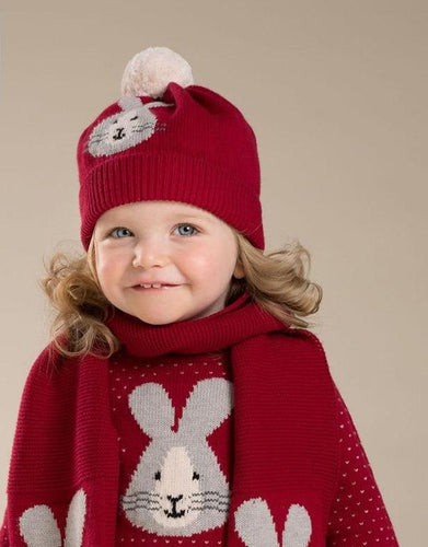 DB3974 dave bella autumn baby girls red rabbit jacquard cotton wool hat - nativware.com