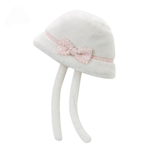 DB4180 DAVE BELLA girls beige Endland style cap baby hat with fur - nativware.com