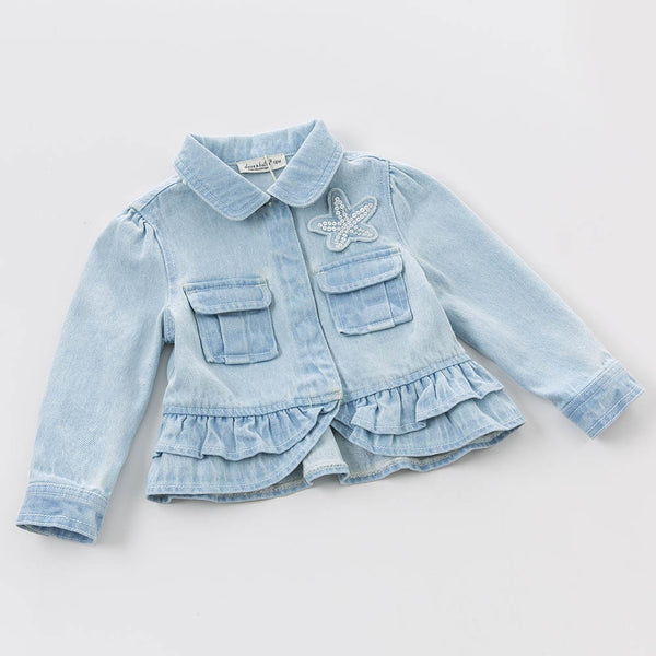 bddc9e26de8c Spring baby girl light denim clothing ruffles fancy beautiful coat ...