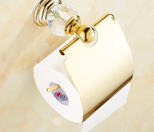 Fashion Crystal Paper Holders Wall-mounted Brass Toilet Paper Rack Bathroom Accessories Product