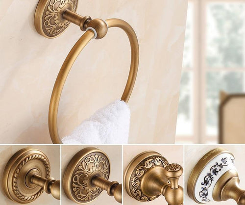 Euro Style Art Carved Bathroom Towel Ring Antique Brass Wall Mounted Round Towel Rack Hanger