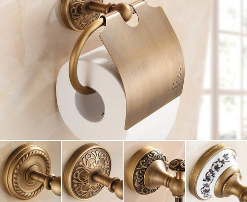Wall Mounted Toilet  Paper Holders Antique Brass Creative Bathroom Roll Paper Rack Rod