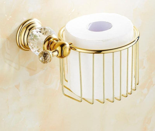 Gold Crystal Wall Mounted Toilet Paper Holders Brass  Basket  Bathroom Accessories